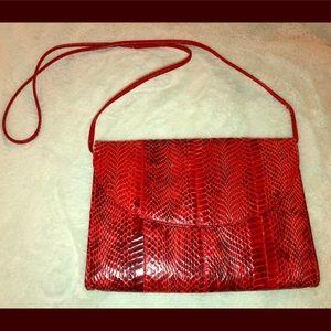 Dark red snakeskin vintage bag
